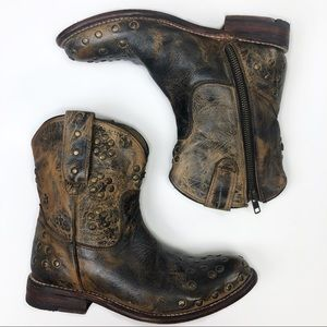 Bed Stu Distressed Studded Western Booties